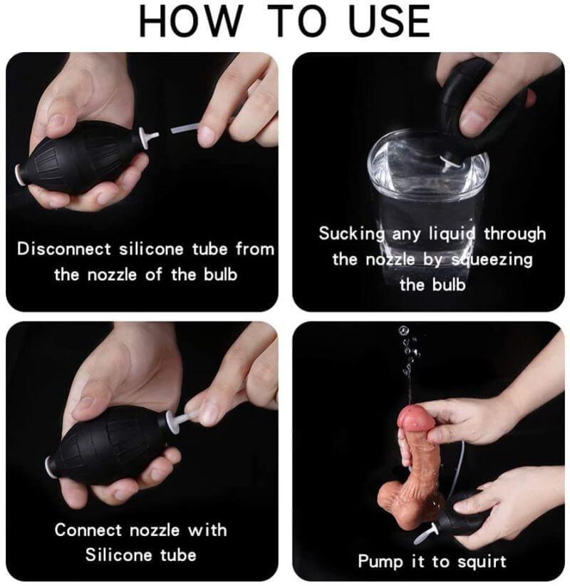 Using Realistic Ejaculating Dildo