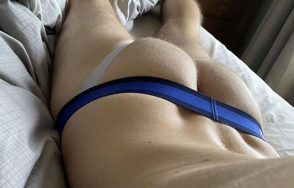 Blue Gay Jockstrap Naked Ass