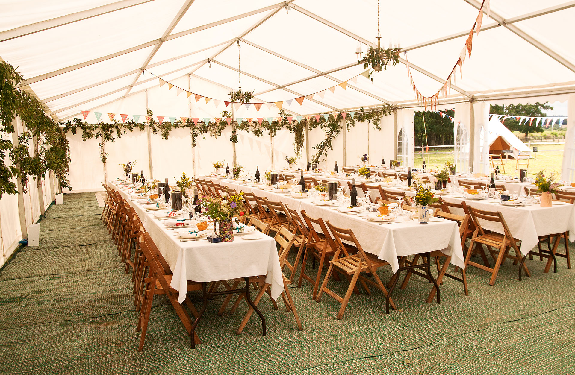 Clearspan Tent with Green Carpet