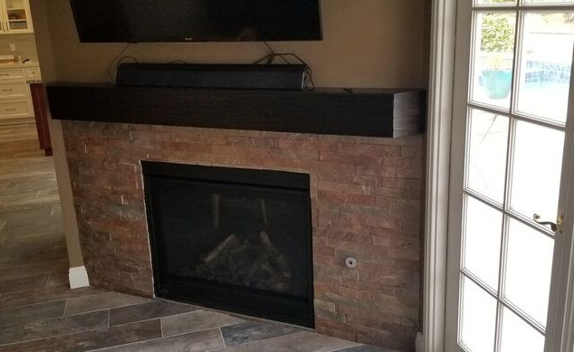 Stone Fireplace with Custom Mantle