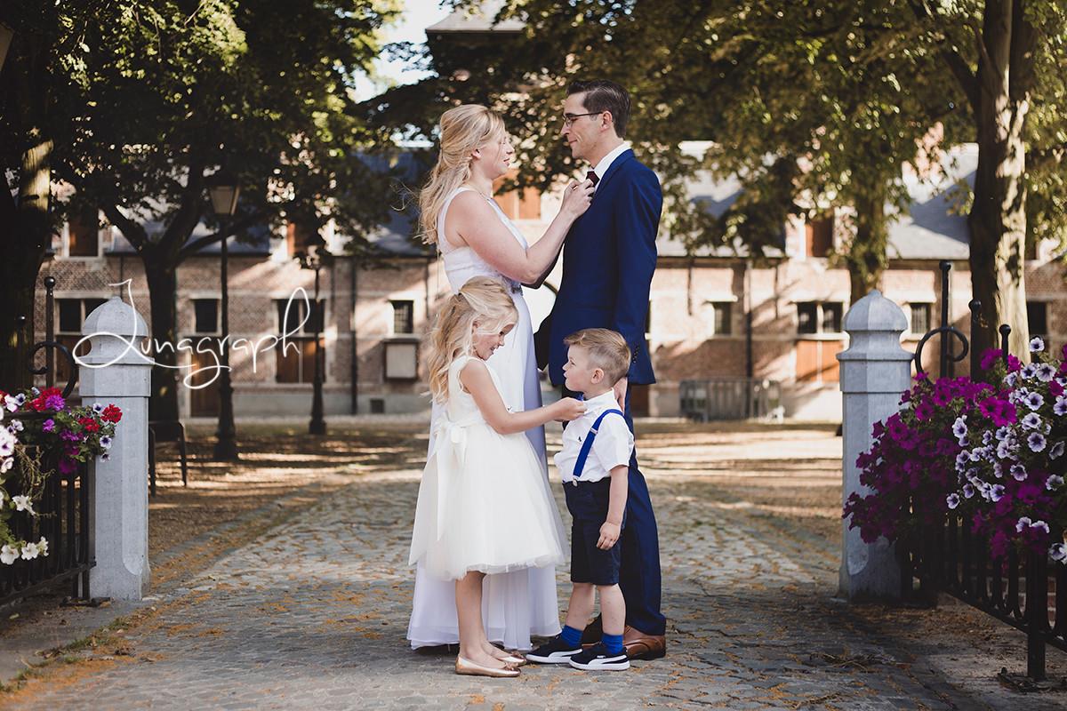 Huwelijk, kinderen, koppel, bruid, bruidegom