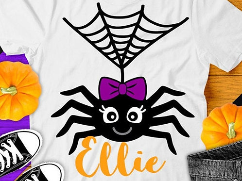 Personalized Halloween Shirt- Girl Spider