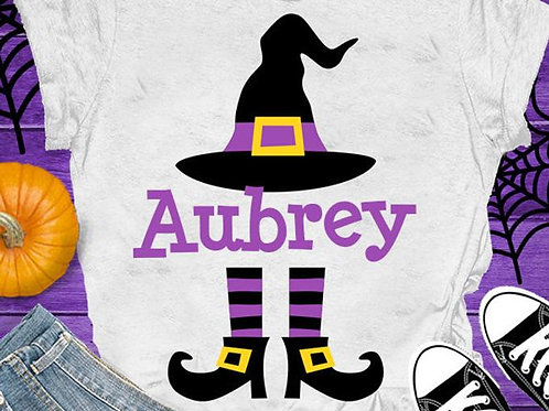 Personalized Halloween Shirt- Purple Witch