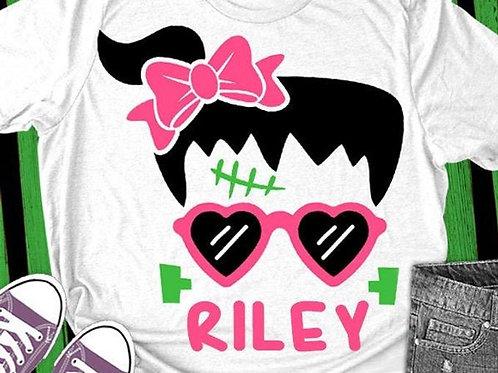 Personalized Halloween Shirt- Girl Frankenstein
