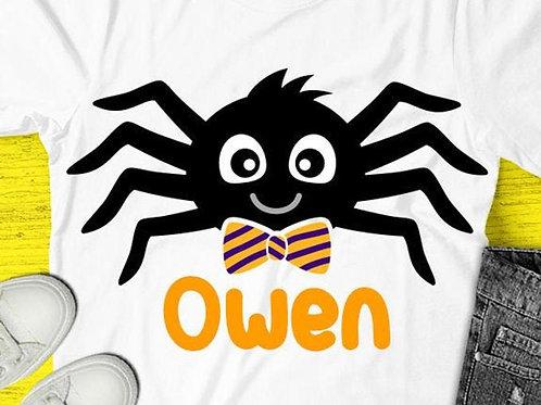 Personalized Halloween Shirt- Boy Spider