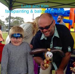 facepainting, balloon twisting, Luke