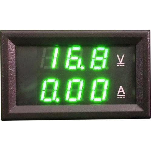 Модуль амперметр (зеленый) + вольтметр (зеленый) 0-100В 100А