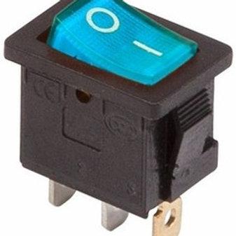 Выключатель клавишный 250V 6А (3с) ON-OFF синий с подсветкой