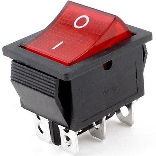 Переключатель клавишн красный с подсветкой 15A