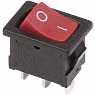 Выключатель клавишный 250V 6А (3с) ON-ON красный Mini
