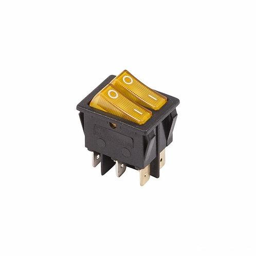 Выключатель клавишный 250V 15А (6с) ON-OFF желтый с подсветкой Двойной Rexant