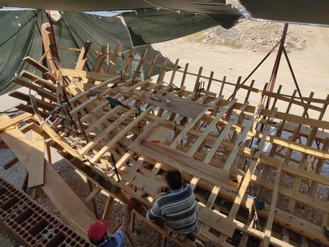 Deck beams after white primer
