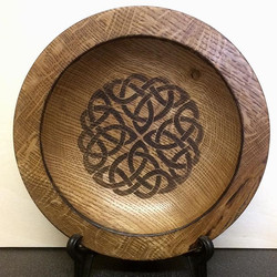 Handturned wooden oak bowl for a customer, brief was lovely wooden bowls with some Celtic style engr