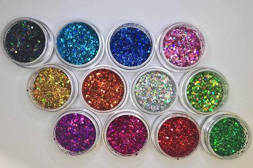 Boite 12 couleurs paillettes