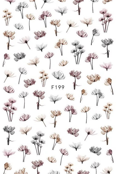 Planche stickers fleur f199