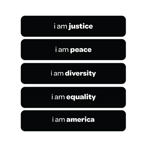 'i am justice' vinyl stickers