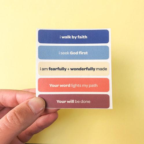 'i walk by faith' vinyl stickers