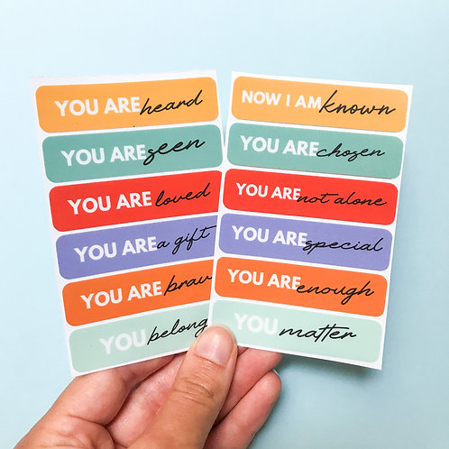 'you matter' vinyl stickers: co-created with Now I Am Known
