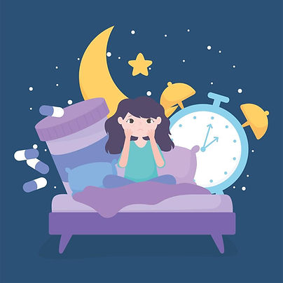 insomnia-girl-on-bed-with-medicine-and-c