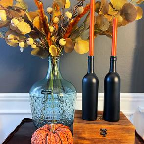 Simple Fall Wine Bottle Candlesticks