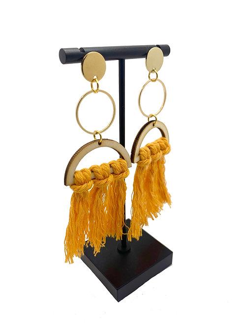 Wood Hoop Tassel Earrings