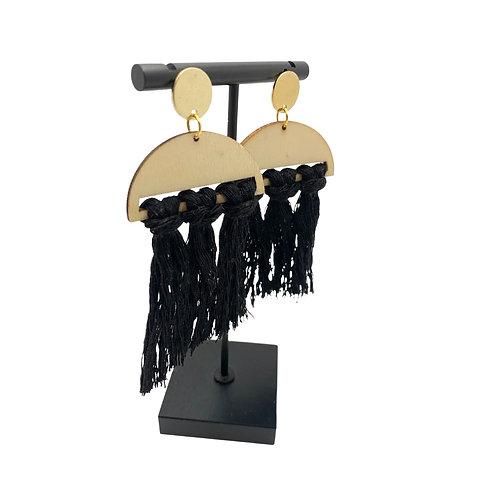 Wood Tassel Earrings