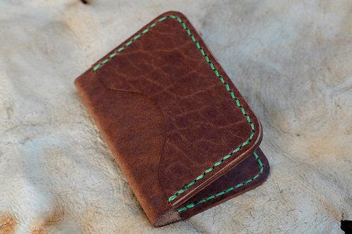 3 Pocket Card Holder - Green Stitching