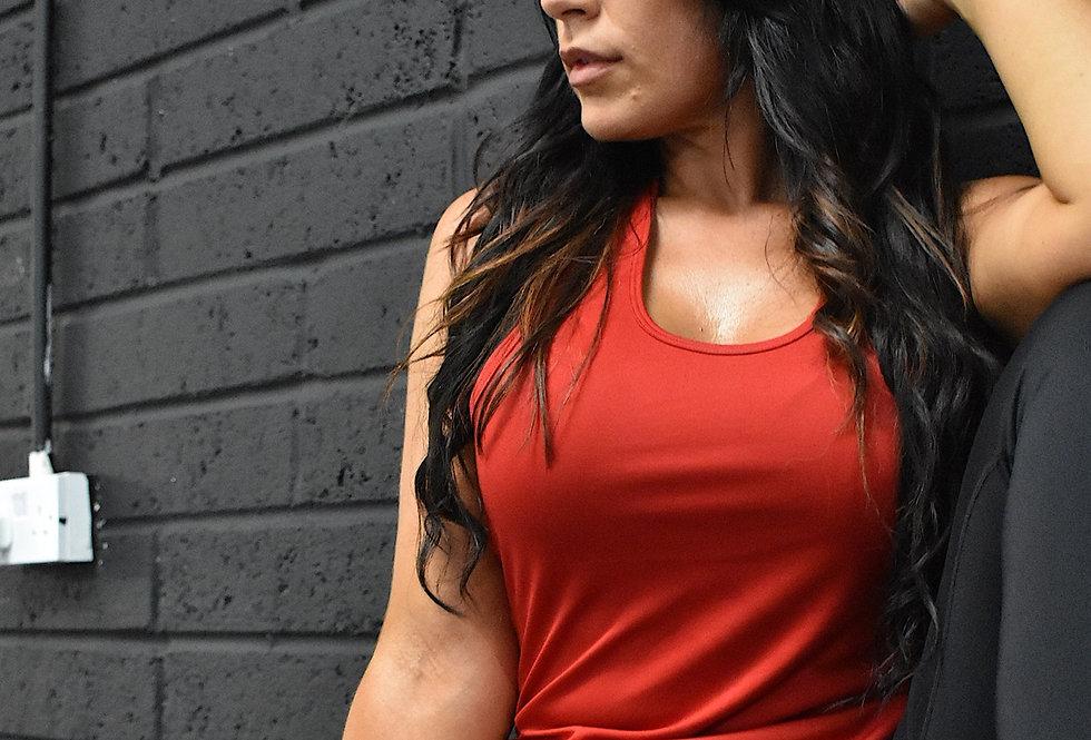 Women's Strap Back Vest - Fire Red