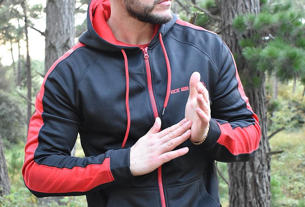 Men's Premium Sports Zip Up - Black/Red