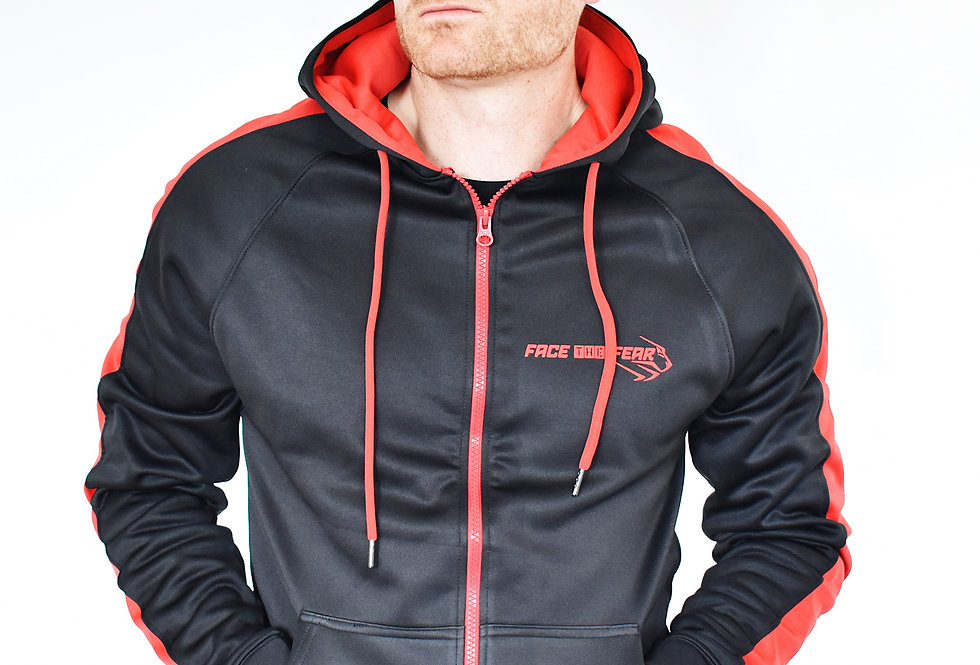 Men's Premium Sports Zip Up - Black/Red