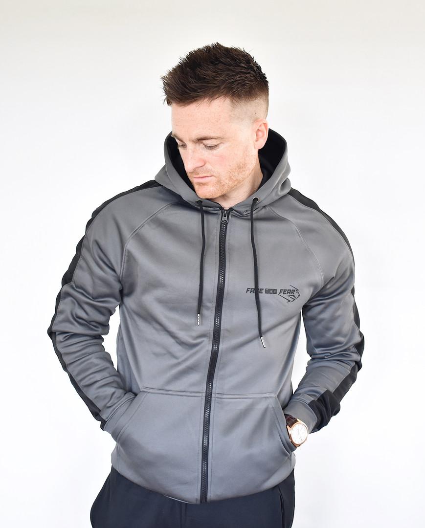Men's Premium Sports Zip Up - Steel Grey/Black