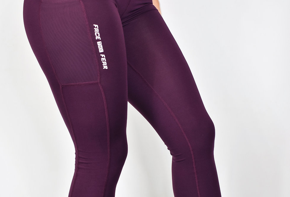 Women's Compression Pocket Leggings -Mulberry