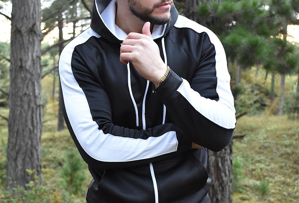 Men's Premium Sports Zip Up - Black/White