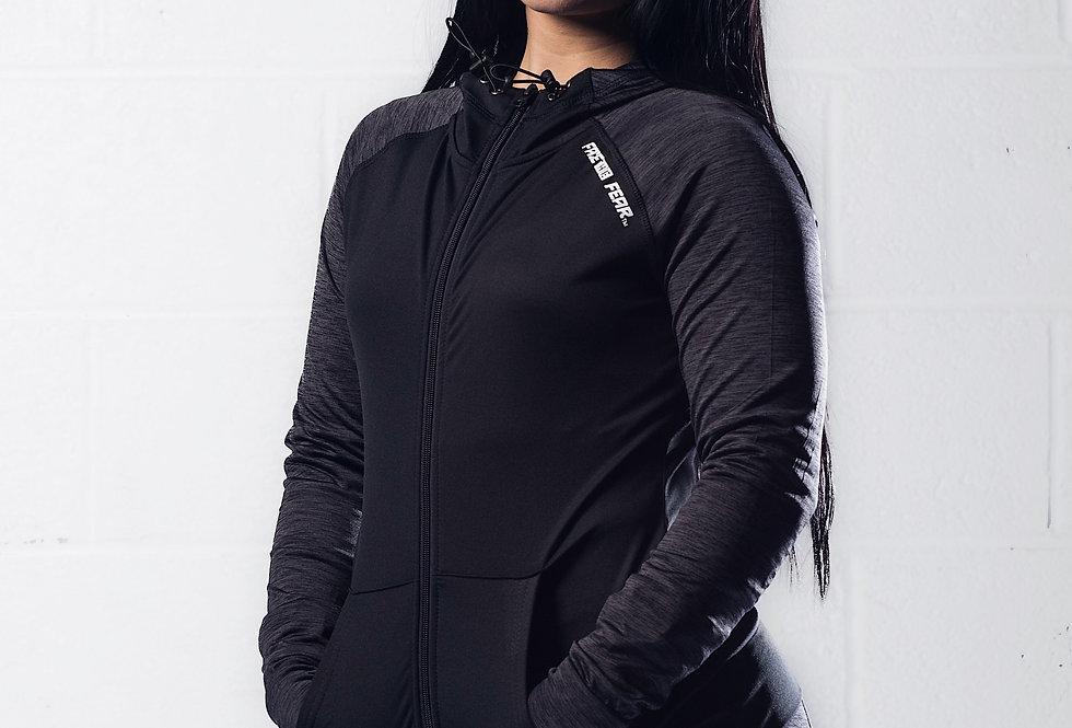 Women's Contrast Sports Hoodie - Black Slate