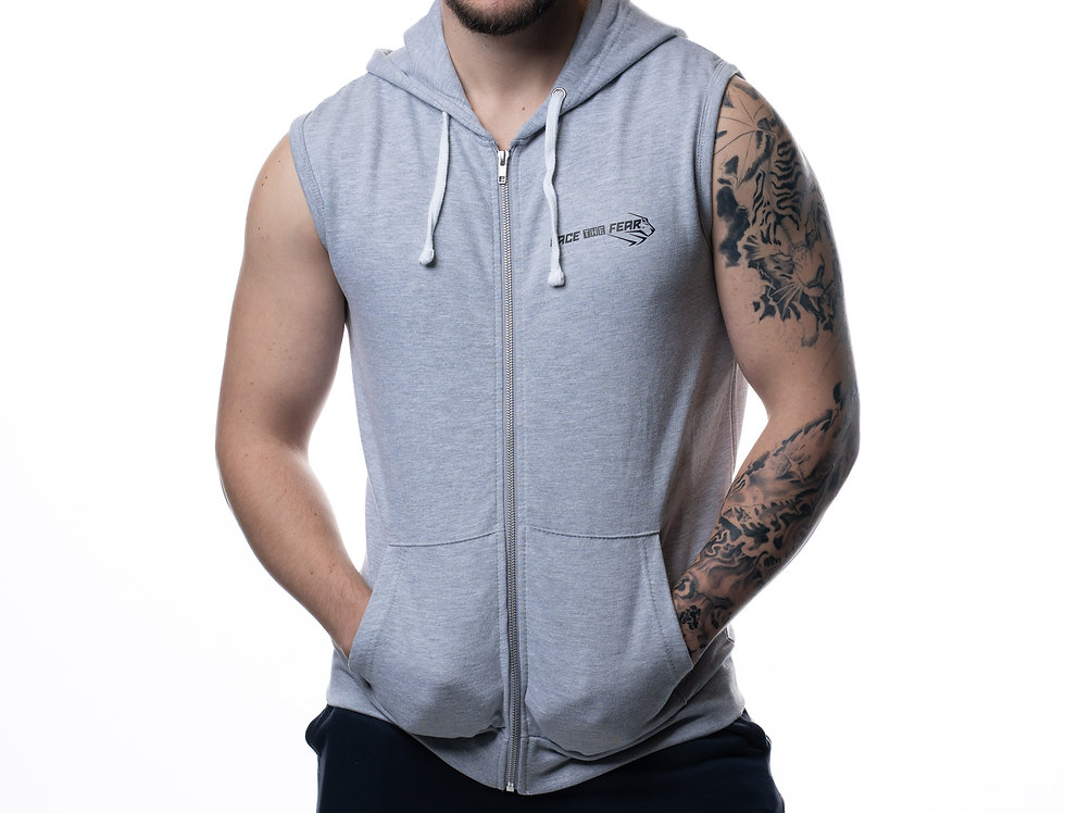 Men's Sleeveless Hoodie - Heather Grey