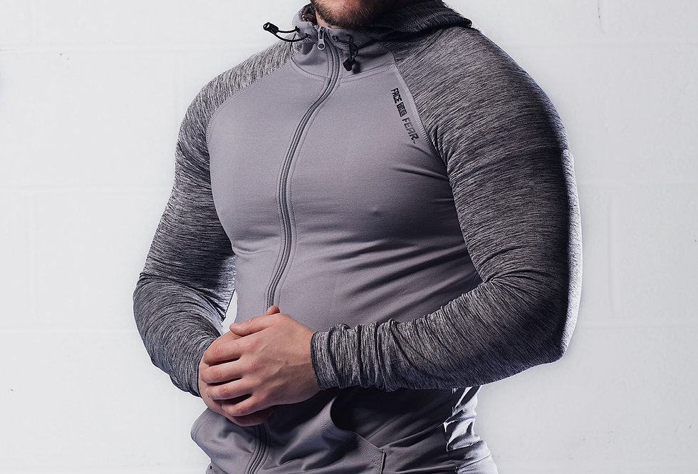 Men's Contrast Sports Hoodie - Grey