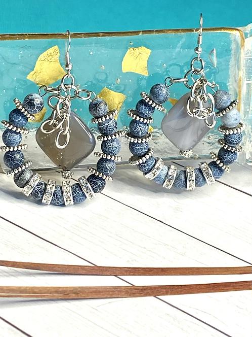 Blue Element Hoop Earrings