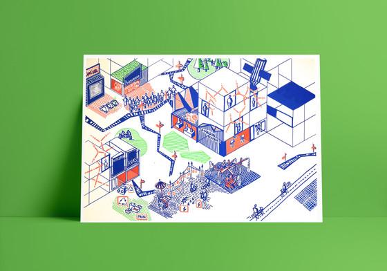 Illustrations des projets proposés par les habitants élaborés au cours du jeu de société ProjetMas. Evènement à Valux-en-Velin, organisé par le groupement Bricologis et le Collectif Pourquoi Pas!?