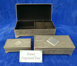 Pewter jewellery boxes