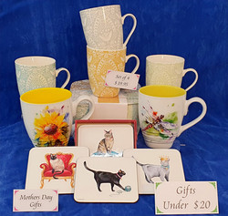 Gift mugs and coasters. Gifts under $20