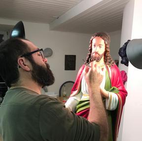"""Bsp: Kirchenfigur """"Herz Jesu"""" Acryl auf Gips/Holz"""