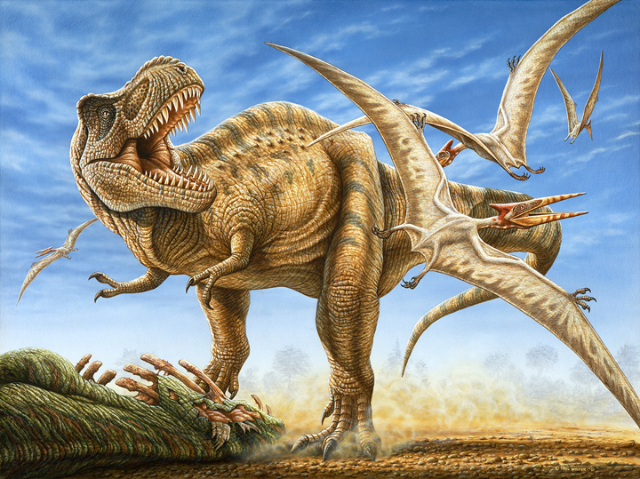 Tyrannosaurus with flock of pterosaurs
