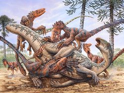 Deinonychus Pack Attacking Tenontosaurus