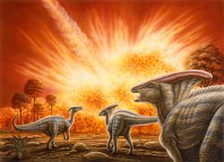 Parasaurolophus Watching Meteor Impact