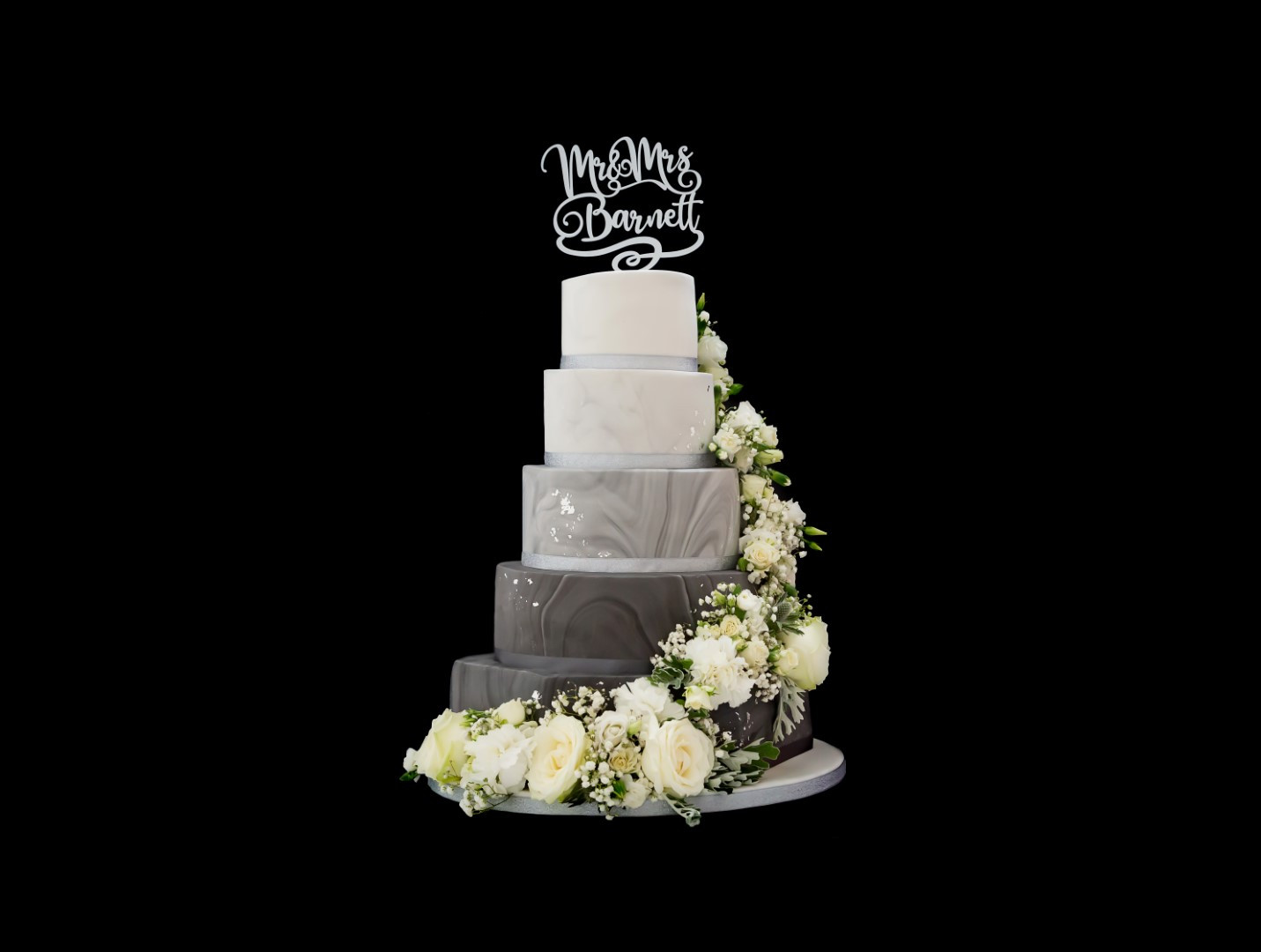 Marble and Floral Wedding Cake