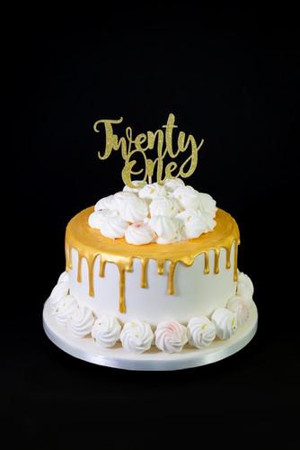 21st Gold Drip Birthday Cake