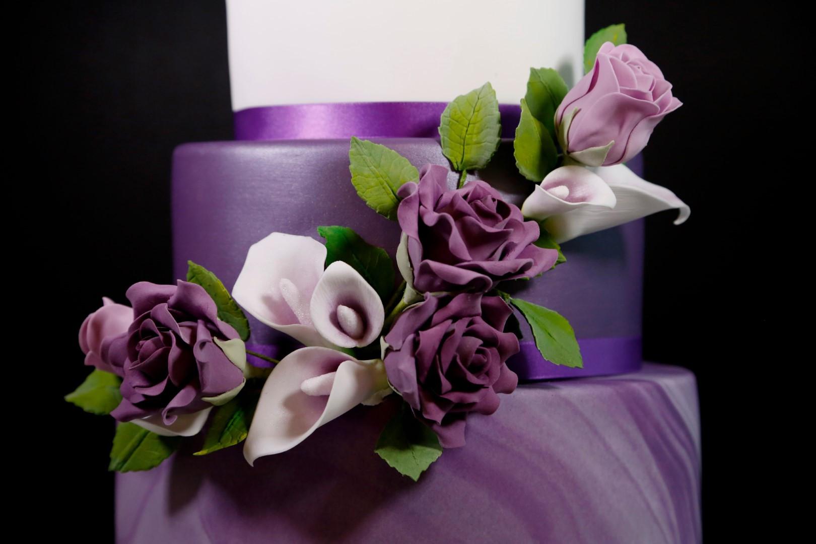 Purple Marble Wedding Cake