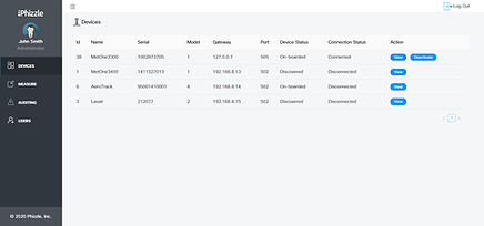 Device management view of Phizzle EDGMaker Data Management Platform dashboard, pharmaceutical manufacturing dashboard use