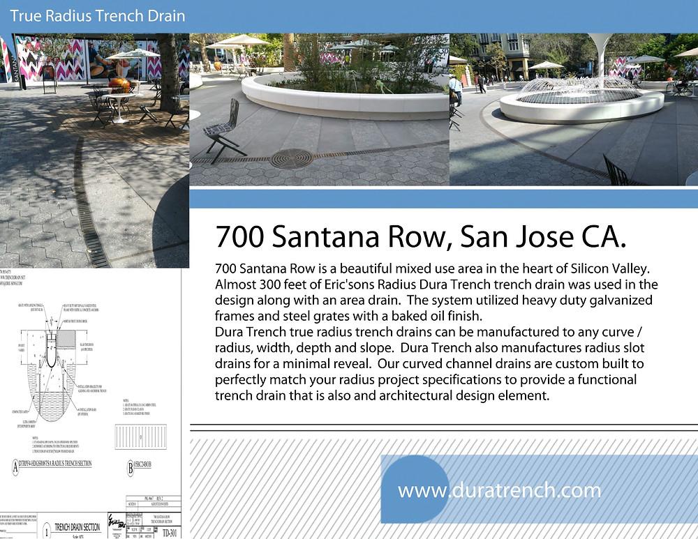 California mixed use Radius trench drain