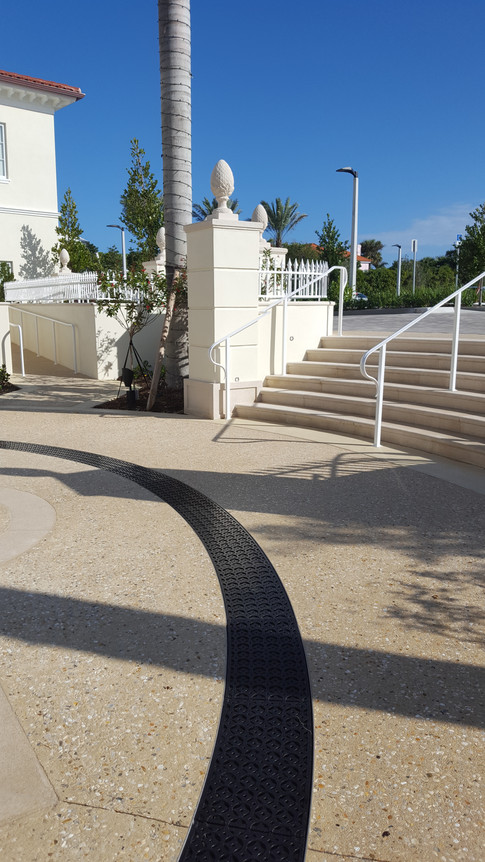 Commercial patio radius trench drain